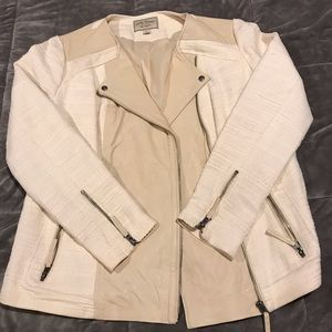 Lucky brand vintage leather cream jacket